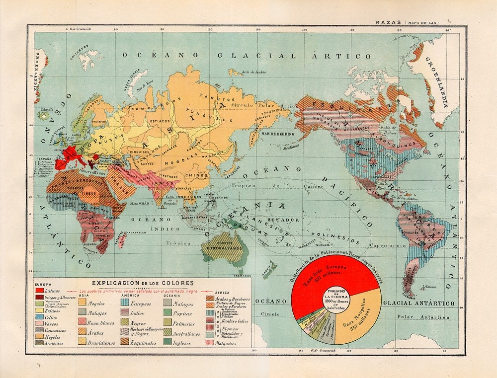 Vintage World Races Map 1938 Spanish Dictionary
