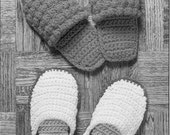 Crochet Pattern Slippers----2 Pair ------for men and women---warm and toasty and makes a great gift