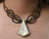 SALE Fossil stone and macrame necklace SALE