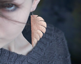 Leather color block earrings