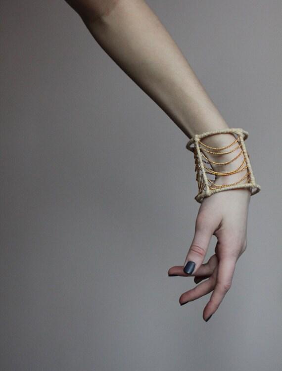 Gold chain bangle bracelet