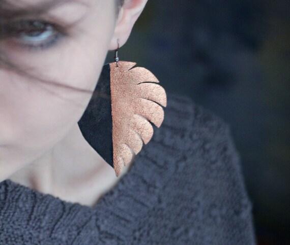 Handmade navy blue leather brass color block large leaf earrings