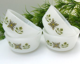 Vintage Meadow Green Anchor Hocking Fire King Custard Cups Baking Dishes - #1693