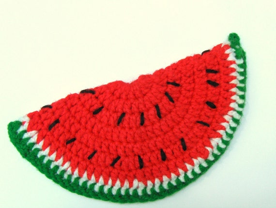 Vintage Watermelon Crochet Pot Holder Red Melon Slice Potholder