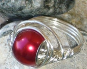 Red Wire Wrapped Ring - Red Saturn