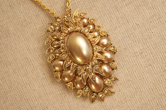 Gold Crystal Scarab Necklace - Vintage Gold Brooch - Ornate Pin - Exotic - Pendant - Honey Crystals