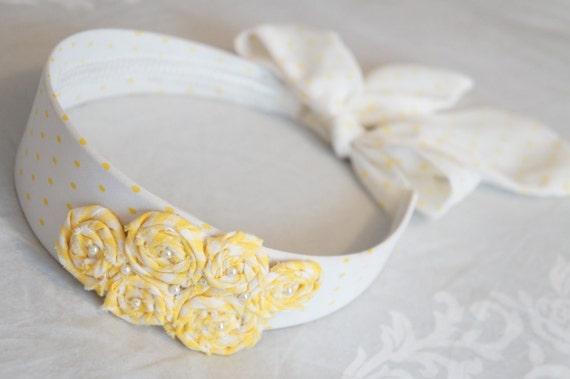 Yellow Polka Dot Headband - Pastel Headband - Shabby Chic Fabric Roses - Retro  Yellow Headband - Flower Girl Headband
