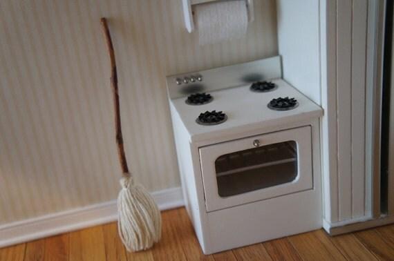 White Dollhouse stove - Miniature Dollhouse Oven - Mini Doll Furniture - Doll House Kitchen