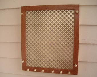 Australian lacewood jewelry organizer with gold gothic screen - woodworking - sustainable wood - earring holder