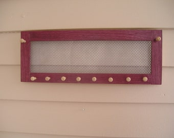 Horizontal Purple Heartwood Jewelry Organizer - earring holder - African hardwood - woodworking - jewelry holder - purpleheart