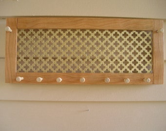 Horizontal cherry jewelry organizer with gold clover screen - sustainably harvested American hardwood - earring holder - jewelry holder