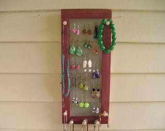 Wall Mount Jewelry Organizer - made in Montana - wood organizer - sustainable wood - earring holder - earring screen - purple heartwood