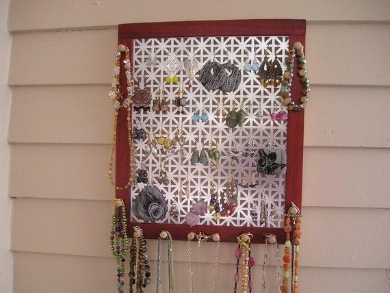 Large paduak jewelry organizer with unionjack screen - sustainably harvested wood - earring holder - woodworking - necklace holder