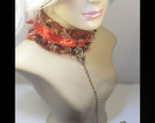 RESERVED for HisGothicAngel,  Crochet kitty collar, leash, cuffs, Ruby Red and Calico kitty, med/large