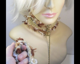 Crochet kitty collar, leash, and cuffs, Lion and gold, small/med.