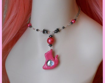 Locking Pet/Kitty Collar, hematite and hot pink vintage beads and hand made cat charm