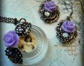 Jewelry set handmade earrings and necklace polka dots lavender roses vintage rhinestones swarovski crystal vintage portrait  on vintage gamepiece retro rockabilly and delightful