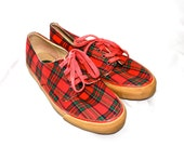 1990s red plaid canvas sneakers 7.5-8