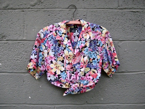 vintage 1980s button up blouse / wildflower super bold top S-M