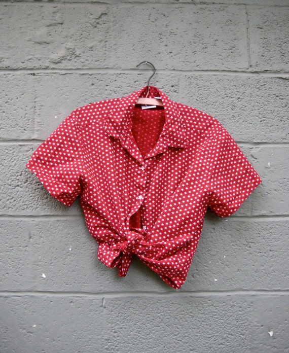 vintage red and white stars blouse / tied cropped patriotic shirt M-L