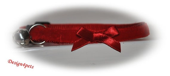 Annie - Red velvet Cat Collar with bow -beautiful unique handmade adjustable breakaway soft cat collar