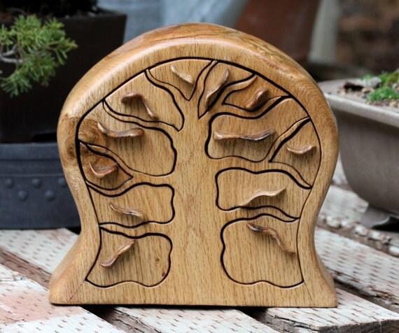 Jewelry Box of Black Oak and Burl Wood