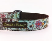"Dog Collar with Flowers and Vines on Baby Blue Ribbon - ""Flower Garden"""