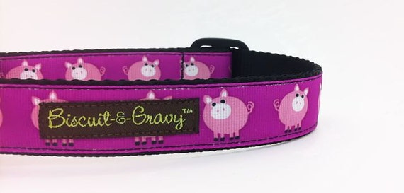 Pig Dog Collar - Little Pink Piggies with Reflective Buckle