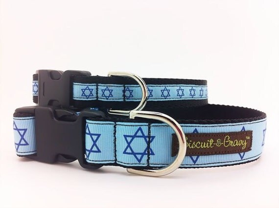 "Dog Collar with Blue Star of David  - 1"" and 3/4"" width - ""Hanukkah"""