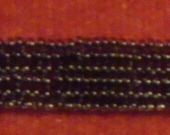 Black Cuff Seed Beaded Herringbone Bracelet