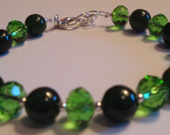 Sterling Silver Emerald Green Glass Crystal Bridal Green Bridesmaid Bracelet Wedding Bracelet Green
