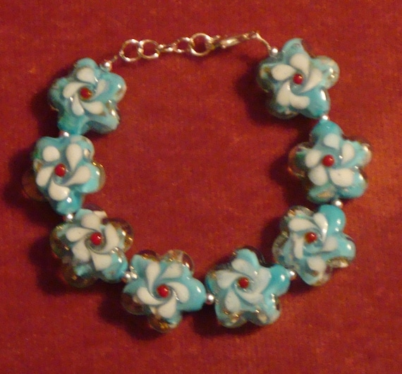 """925 Sterling Silver Baby Blue Plum Blossom Lampwork Beaded 7.25""""-8"""" Top Quality Bracelet"""