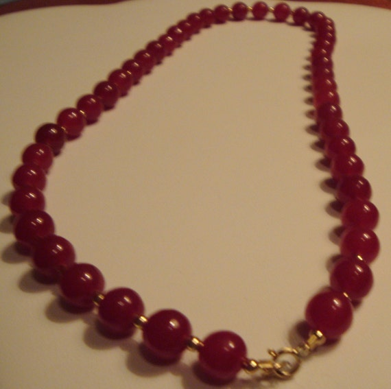 "18.50"" 14k Yellow Gold Ruby Glass Necklace Jade Ruby Necklace Red Glass Necklace Jade Bead Necklace Red Bead Necklace Red Cabochon Necklace"
