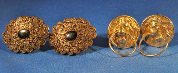 2 Sets of Vintage Button Earrings - Clip Ons