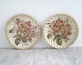 Vintage Floral China Plates - Pink Roses - Shabby Chic Cottage