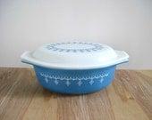 Vintage Pyrex Casserole Dish - Blue Snowflake Garland