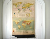 Vintage Pull Down World Map - 1930's Rainfall, Temps & Population - Denoyer-Geppert Co.