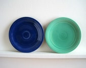 Vintage Fiesta Ware Plates - Blue & Green - Art Deco Cottage Style