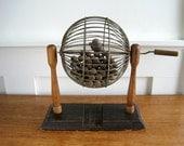 Vintage Bingo Cage w/ Wooden Balls - Rustic Cottage Decor