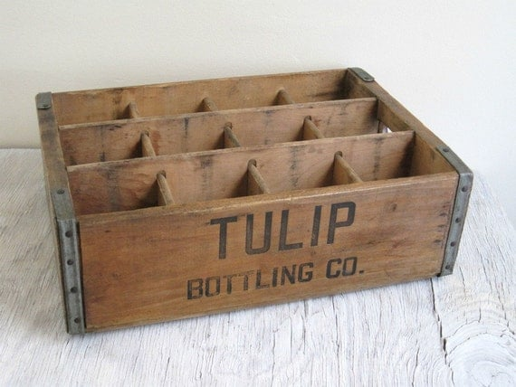 Vintage Wood Box - Tulip Bottling Co. Wood Crate - Industrial Display
