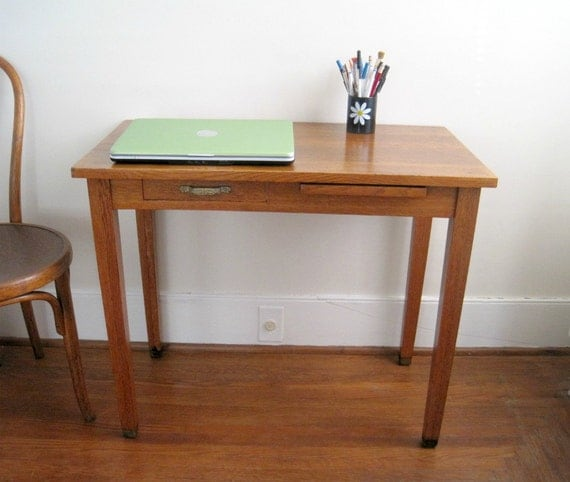 Reserved for alicestudio - Vintage Oak Desk or Writing Table with Brass Accents