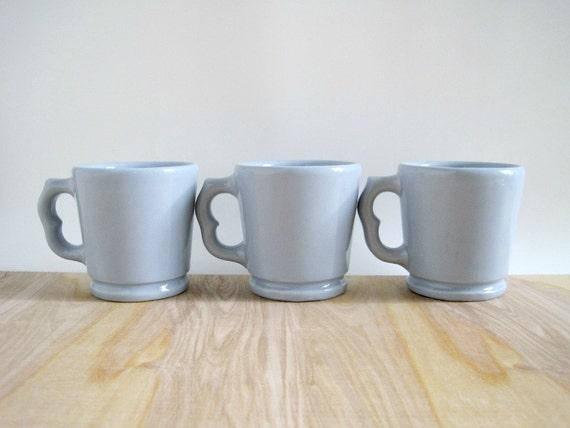 Vintage Blue Restaurant Ware Mugs - Victor Mugs