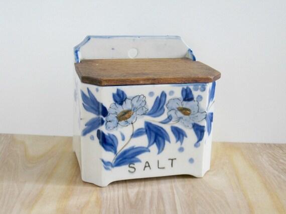 Vintage Salt Box - Blue & White Floral - Shabby Cottage Chic