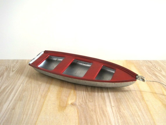 Vintage Toy Boat - Red Pressed Steel - Nautical Cottage Chic