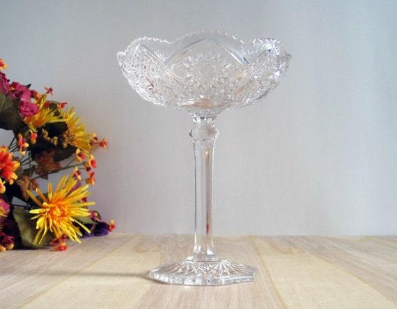Vintage Glass Compote Pedestal - Victorian Cottage Chic