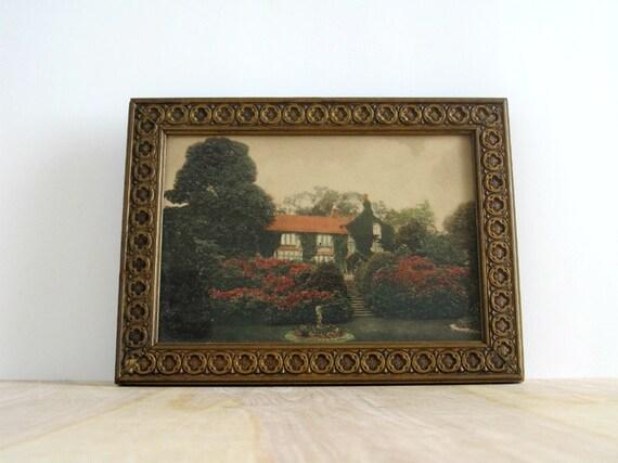Vintage Framed Cottage Print - Hand Colored House & Gardens