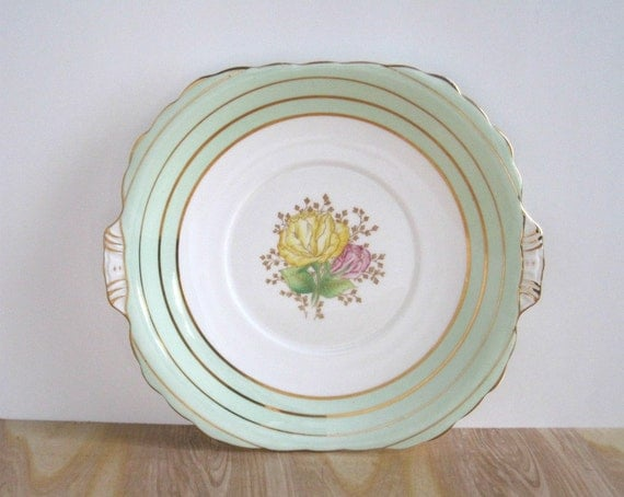 Vintage Floral China Cake Plate - Mint Green Cottage Chic