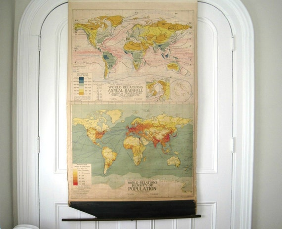 Vintage Pull Down World Map - 1930's Rainfall, Temps & Population - Denoyer-Geppert Co.