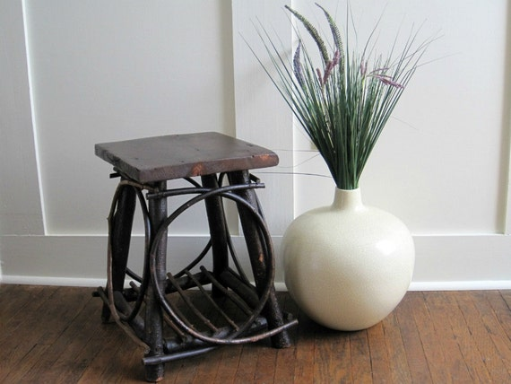 Vintage Adirondack Twig Table or Stand - Rustic Cottage Chic