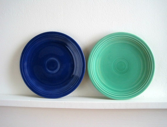 Vintage Fiesta Ware Plates - Blue & Green - Art Deco Cottage Style